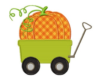 Giant Pumpkin Wagon Frame Applique Machine Embroidery Design INSTANT DOWNLOAD Professionally Digitized Super Cute! Buy 3 get 1 design FREE!