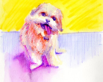 Technicolor Watercolor - Custom Pet Portrait Memorial Painting