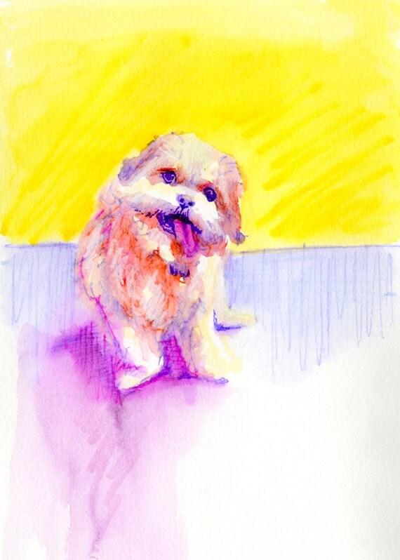 Technicolor Watercolor - Custom Pet Portrait Memorial Painting