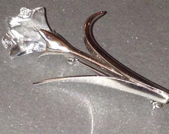Vintage Swarovski Crystal Flower Brooch Signed With The Swarovski Swan