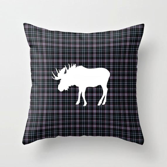 Plaid MOOSE Decorative Throw Pillow Country by LaDameParisienne