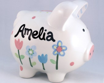 Personalized Piggy Bank  - Ceramic  - Personalized  - Custom Made -Pottery Barn Flowers