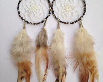 Cheetah Print Dreamcatcher Earrings With Feathers