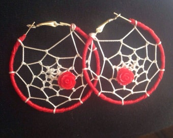 Red Rose Dreamcatcher Hoops