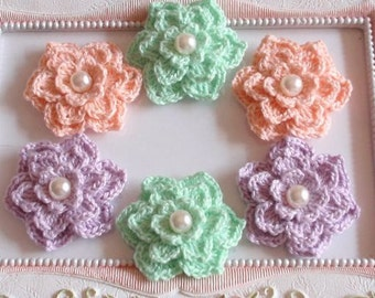 6 crochet flowers with pearls applique CH-006-01