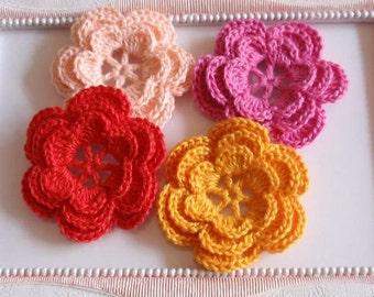 4 crochet flowers applique CH-007-01