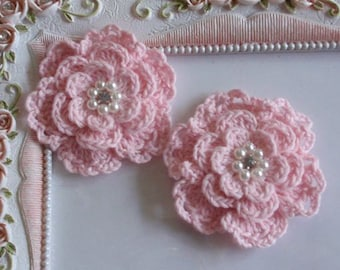 2 crochet flowers applique CH-052-02