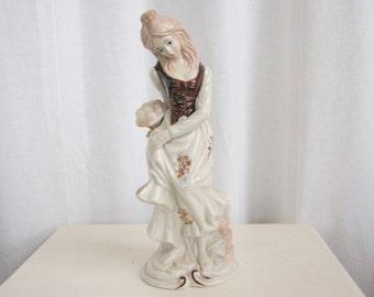 County Woman Holding Apple Basket - Figurine, Ceramic, Statue
