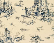 Admiral Blue and Almond French Countryside Village Toile Wallpaper - La Fete, The Feast - Sheep, Pierre Deux - By The Yard - DPX24326