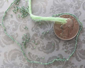 """Green Amethyst Seed Beads, Rare 1mm, Perfect for Tassels and Petite Designs, Full 15"""", February Birthstone"""