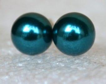 teal pearl earrings,glass pearl stud  earrings,Wedding earrings,green  Glass Pearl earrings,bridesmaid earrings,Maid of honor jewelry