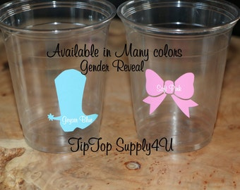 24 boot & Bow 10,12 or 16 oz. clear disposable cup. Baby Shower, Gender reveal party, Birthday party, Cowboy Boot, cowgirl party B-224 B-210