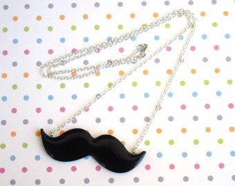 Cute Black Moustache Necklace, Movember, Mustache, KiTsCh, Vintage, Geekery, Geek Chic,Nerd