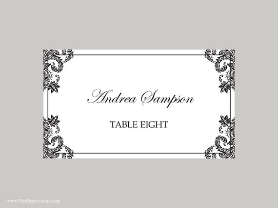 Wedding Place Cards Template (Folded) u2013 Black Damask - Instant ...