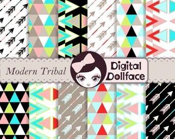 Modern Tribal Digital Paper, Arrows, Triangles, Neon Geometric, Aztec