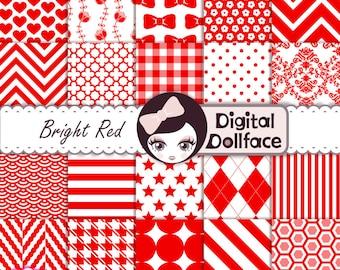 Red Digital Paper Set, Scrapbook Backgrounds, Printable Patterned Paper