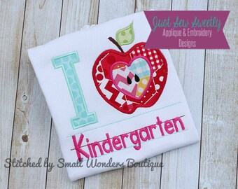 I Love Kindergarten Back to School Applique:  Machine Embroidery Applique Design