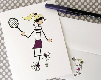 "Tennis Cards, Tennis Note Cards ""Tennis Bling Gal"" #408"