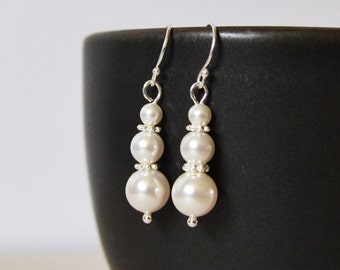 Pearl Drop Earrings, Swaroski Pearl Earrings,  Wedding Earrings, Bridal Party Gifts, Pearl Drop Earrings