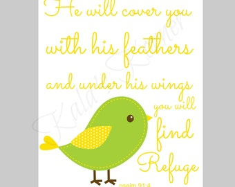 BIRD NURSERY - bird nursery decor,  bible verse, yellow green , children wall art