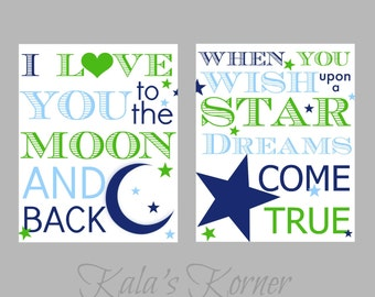 MOON and STARS NURSERY - Love you to moon and back, Wish upon a star, Playroom wall art decor print