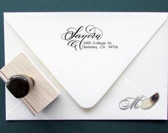 Custom Calligraphy Address Stamp - Wooden handle