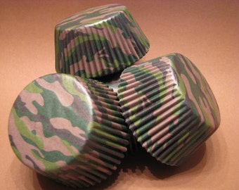 50 Premium Camo Camouflage Cupcake Wrapper/ Baking Cups/ Cupcake Liners