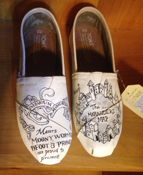 Toms Design custom painted marauders map toms note personalized to