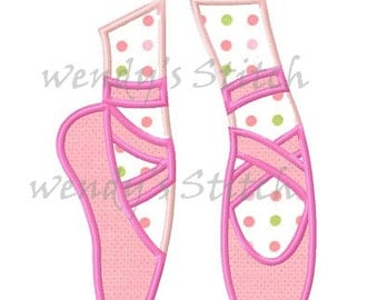 Ballerian ballet slippers applique machine embroidery design
