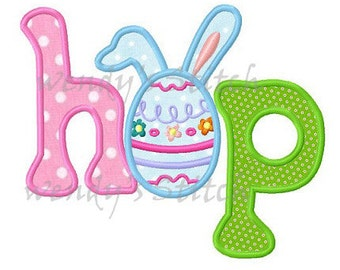 Easter bunny hop applique machine embroidery design digital pattern