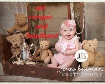 Set Pink Romper and Headband Baby Romper Lace Romper Pink Headband Newborn Romper Petti Romper Baby Girl Photo Prop  Newborn Photo Prop Pink
