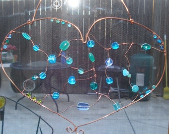 Large Copper Wire and Blue Glass Bead Heart Suncatcher
