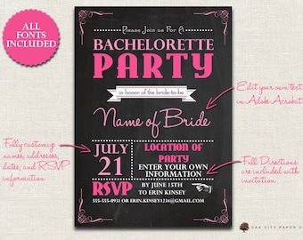 Bachelorette party invitation template – Etsy