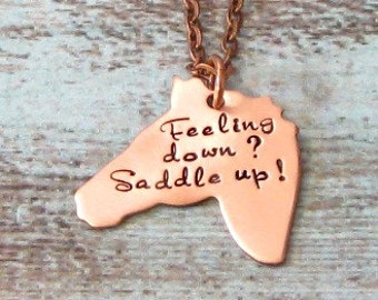 Hand Stamped Horse Necklace - Horsewoman Jewelry, Equestrian, Equine Jewelry