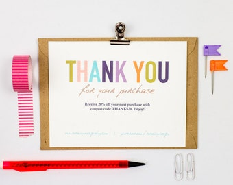 Business Thank You Cards template INSTANT DOWNLOAD - Naturally Colorful