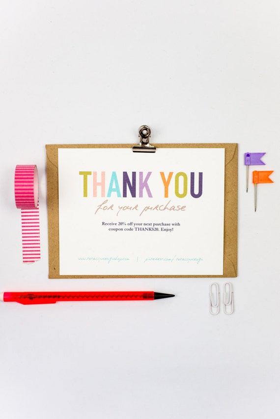 Business Thank You Cards Template INSTANT DOWNLOAD Naturally - Business thank you card template