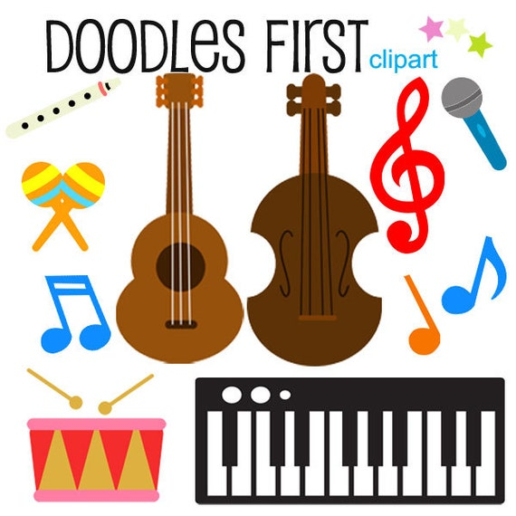 Musical Instruments Clipart Digital Clip Art for Scrapbooking Card ...