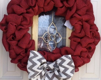 Red burlap bubble wreath with chevron bow
