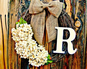 Hydrangea Wreath with Monogram -Choose Your Flower Color - Monogrammed Wreath - Door Wreath - Year Round Wreath - Rustic Wreath - Wreaths -
