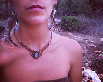kyanite necklace macrame necklace tribal style with Magical brass beads TRIBAL bohemian gipsy jewelry