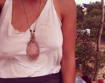 Agate macrame pendent Made by ORDER necklace brass beads, hippie bohemian Gypsy Agate necklace tribal jewelry