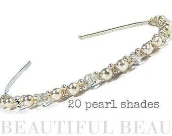 Bridal Headband, Bridal Hairband, Wedding Headband, Wedding Hairband, Pearl Headband, Bridesmaid Headband, Headpiece, Crystal - PAST TIMES