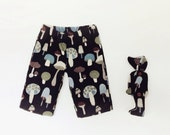 Teddy Bear Picnic Costume, Mushroom Bear and Boys Shorts, black cotton linen