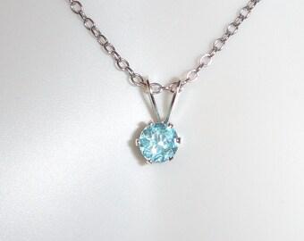 SALE! 25% OFF:  Paraiba Blue Apatite .3 ct  4 mm Round Sterling Silver Necklace Pendant
