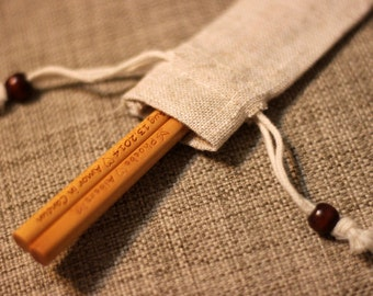 Personalized Engraved Fine Wood Chopsticks (Light Brown) with Linen Pouch