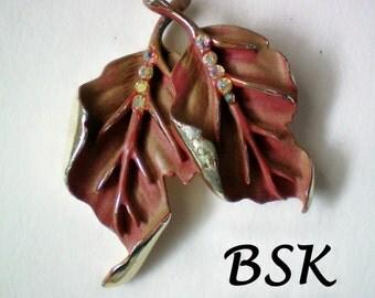 Signed BSK Autumn Leaves Brooch - 2324