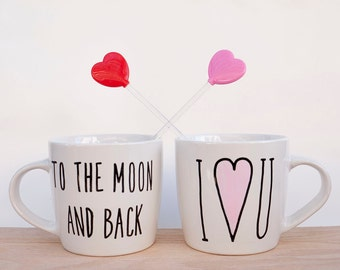 I Love You to the Moon and Back Mug // Cute Best Friend Gift // Love Quote Mug // Valentine's Gift for Her // Cute Birthday Gift for Him