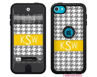 Monogrammed OTTERBOX DEFENDER for iPod Touch 5th iTouch 5 Gen Gray Houndstooth Checker Device Case