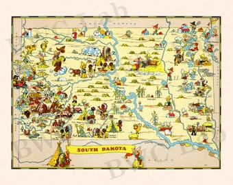 Pictorial Map of South Dakota - colorful fun illustration of vintage state map