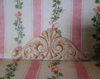 Decorative ornate wood appliques  Smaller for top flourish Sanded and sealed